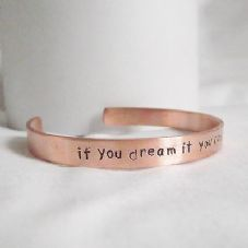"Lovely Handmade Copper ""if you dream it you can do it"" Statement Cuff Bangle"